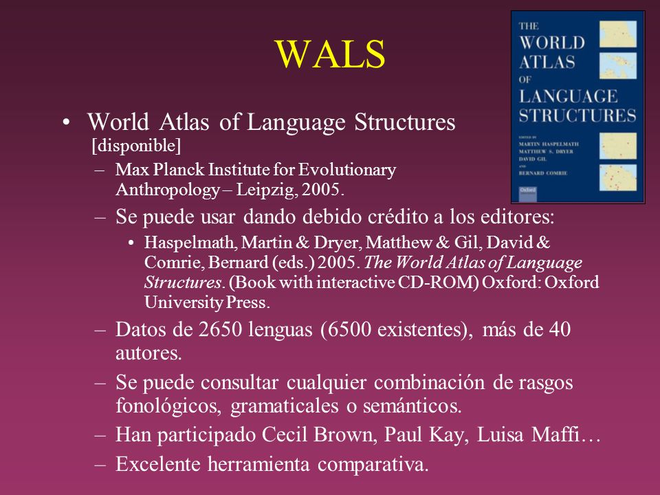 WALS World Atlas of Language Structures [disponible]